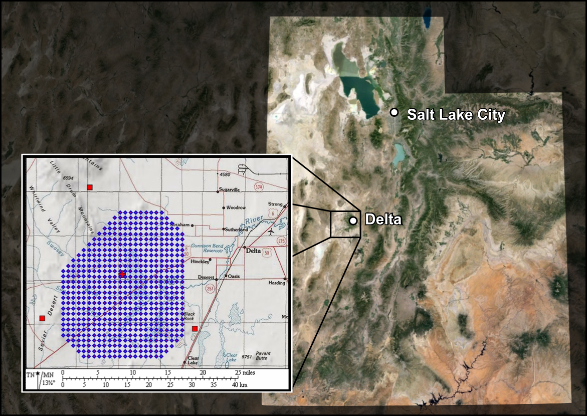 Map showing the location of the Telescope Array in Southern Utah.