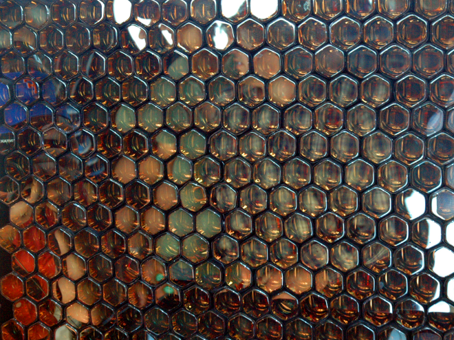 A honeycomb of photomultiplier tubes that make up part of the fluorescence detectors