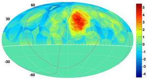Map of candidate hotspot area as observed by the Telescope Array project